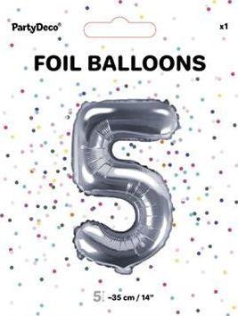 "Party Deco Balon foliowy Cyfra ""5"", 35cm, srebrny uniwersalny"