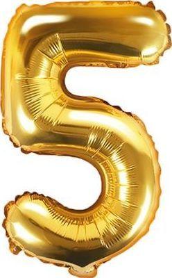 """Party Deco Balon foliowy Cyfra """"5"""", 35cm, złoty uniwersalny"""