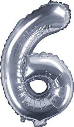 "Party Deco Balon foliowy Cyfra ""6"", 35cm, srebrny uniwersalny"