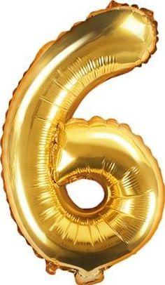 """Party Deco Balon foliowy Cyfra """"6"""", 35cm, złoty uniwersalny"""