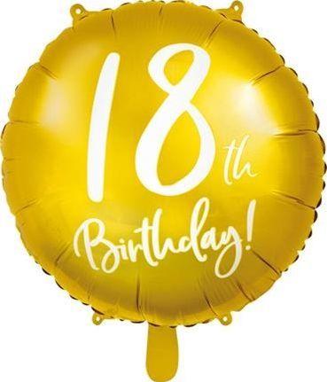 Party Deco Balon foliowy 18th Birthday, złoty, 45 cm uniwersalny