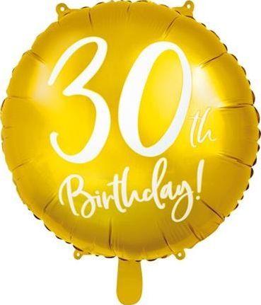 Party Deco Balon foliowy 30th Birthday, złoty, 45 cm uniwersalny