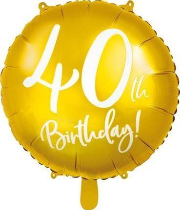 Party Deco Balon foliowy 40th Birthday, złoty, 45 cm uniwersalny