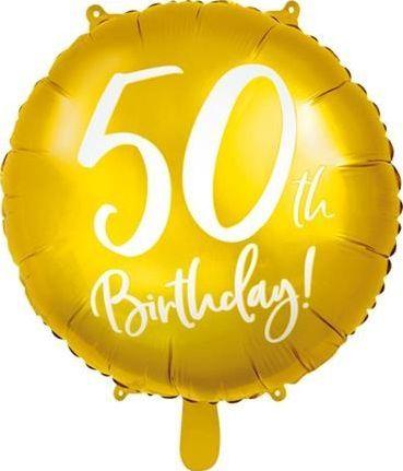 Party Deco Balon foliowy 50th Birthday, złoty, 45 cm uniwersalny