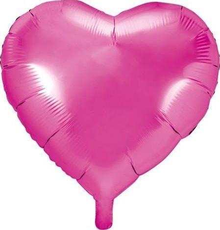 Party Deco Balon foliowy serce, ciemny różowy, 45cm uniwersalny