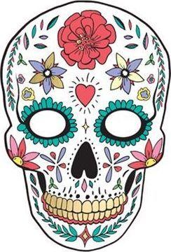 Party Deco Maska Halloween - Dia de los Muertos, biała uniwersalny