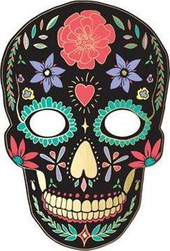 Party Deco Maska Halloween - Dia de los Muertos, czarna uniwersalny