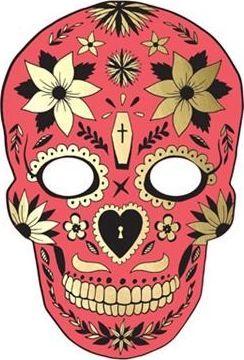 Party Deco Maska Halloween - Dia de los Muertos, czerwona uniwersalny