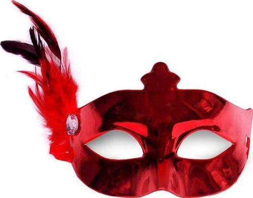 Party Deco Maska imprezowa z piórkiem, czerwona uniwersalny