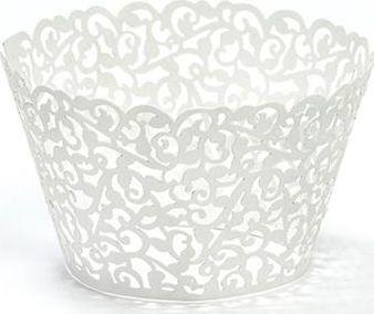 Party Deco Papilotki na muffinki, białe, 5,5x8,5cm, 10 szt. uniwersalny