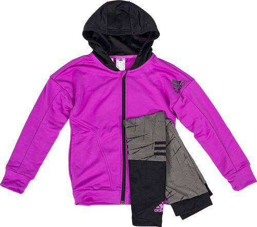 Adidas Komplet dresowy dziecięcy Nd Yg Ts Pes Tight różowo-szary r. 152 (AY5393)
