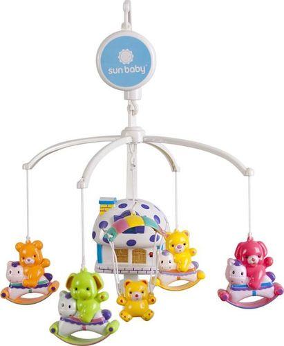 Sun Baby Karuzela do łóżeczka z lampką i plastikowymi zabawkami