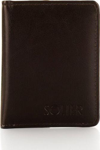 Solier Eleganckie brązowe etui na dokumenty SOLIER E01 one size