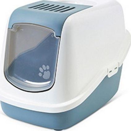 Savic Toaleta Savic Nestor - kryta kuweta dla kota z wygodnymi drzwiczkami biało-niebieska uniwersalny