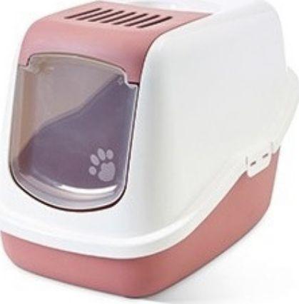 Savic Toaleta Savic Nestor - kryta kuweta dla kota z wygodnymi drzwiczkami pastelowo różowa uniwersalny