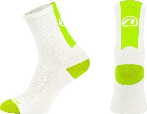 Accent Skarpetki kolarskie Stripe biało-zielone neonowy r. 42-44
