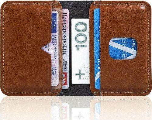 Solier Cienki skórzany portfel męski Solier SW11 brązowy