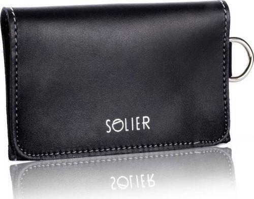 Solier Skórzany portfel męski/wizytownik z miejscem na bilon SOLIER SW20 czarny vintage