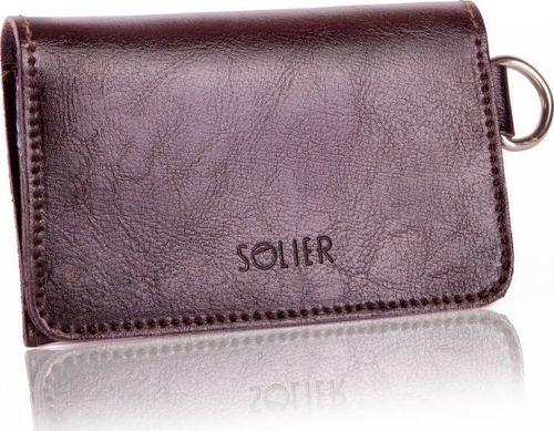 Solier Skórzany portfel męski/wizytownik z miejscem na bilon SOLIER SW20 ciemny brązowy