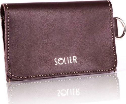 Solier Skórzany portfel męski/wizytownik z miejscem na bilon SOLIER SW20 brązowy vintage