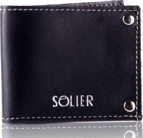 Solier Skórzany cienki portfel wizytownik SOLIER SW21 czarny vintage