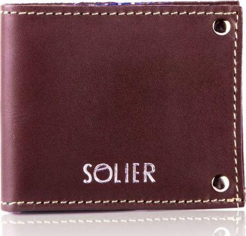 Solier Skórzany cienki portfel wizytownik SOLIER SW21 brązowy vintage