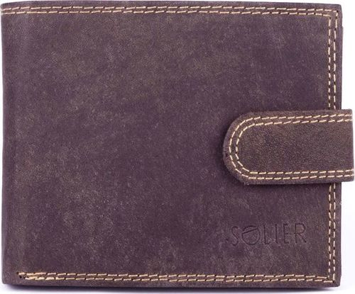 Solier Skórzany portfel męski SOLIER SW25 brązowy