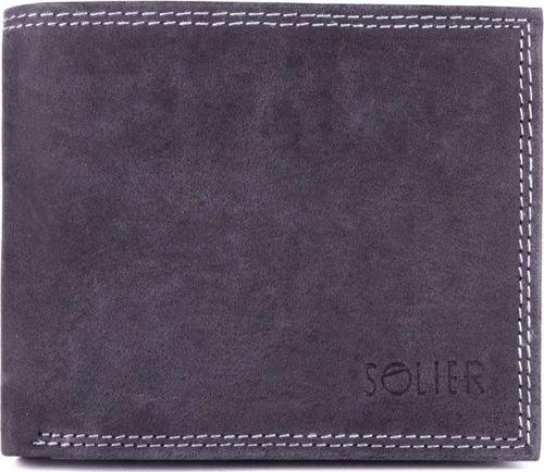 Solier Skórzany portfel męski SOLIER SW24 czarny