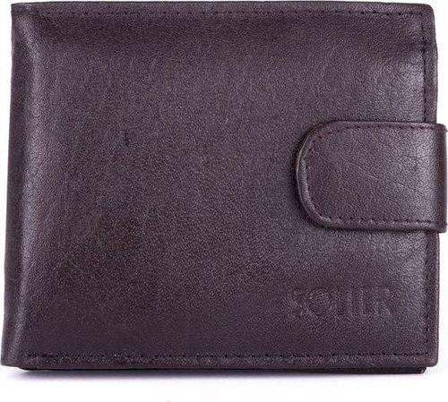 Solier Skórzany portfel męski SOLIER SW26 brązowy