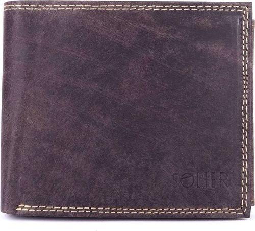 Solier Skórzany portfel męski SOLIER SW24 brązowy