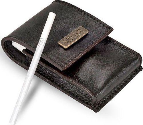 Solier Skórzane męskie etui na papierosy SA14 SLIM ciemnobrązowe