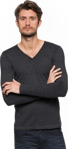 Tom Tailor Sweter męski V-Neck with Rib Details szary r. XXL