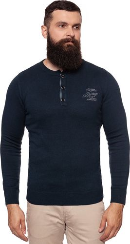 Tom Tailor TOM TAILOR HENLEY WITH RIB DETAILS KNITTED NAVY 3018989.00.10 COL. 6800 XL