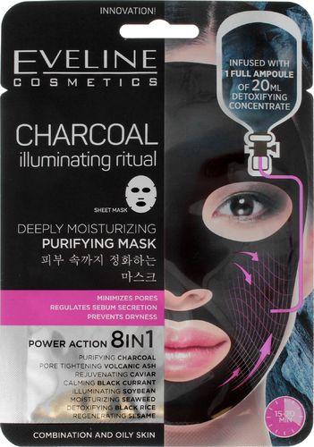 Eveline Maseczka do twarzy Charcoal Iluminating Ritual Sheet Mask czyszczająca 20ml