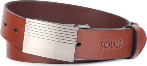 Solier Skórzany elegancki pasek męski SOLIER SB12 ciemny brąz 90 cm