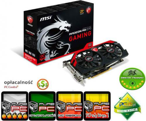 Karta graficzna MSI Radeon R9 270, 2GB GDDR5 256 Bit HDMI, 2xDVI, DP (R9 270 GAMING 2G)