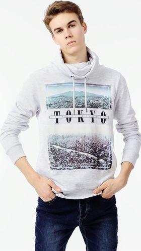 Sublevel Jasnoszara bluza męska z nadrukiem Sublevel XXL
