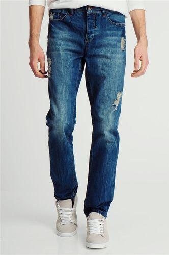 98-86 Spodnie jeansowe z przetarciami męskie niebieskie 98-86 38/32