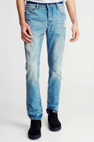 98-86 Spodnie jeansowe z przetarciami męskie jasnoniebieskie 98-86 30/34