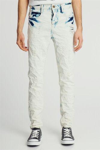 Sublevel Spodnie jeansowe męskie z przeszyciami Sublevel 33/32