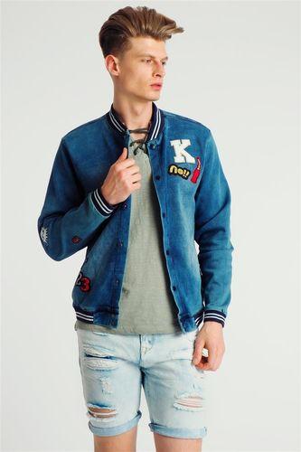 98-86 Kurtka bomber męska wiosenna jeansowa  z naszywkami niebieska 98-86 L