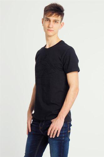 Sublevel Koszulka męska z wytłaczanym wzorem czarna r. L
