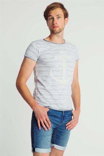 Sublevel Koszulka męska w prążki z kotwicą biało-niebieska r. XXL