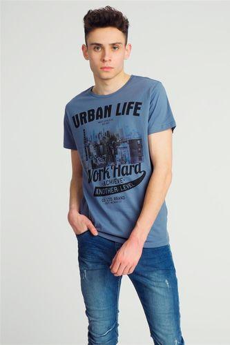Sublevel Koszulka męska z nadrukiem niebieska r. S