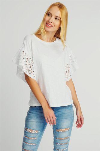 Fresh Made Bluzka damska z koronkowymi rękawkami biała Fresh Made M