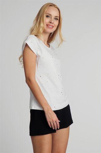 Fresh Made Bluzka damska z perełkami i kamyczkami biała Fresh Made XL