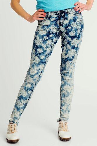 Stitch & Soul Spodnie jeansowe damskie w kwiaty Stitch&Soul L