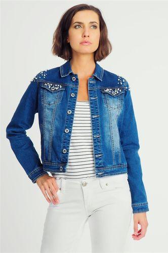 Fresh Made Kurtka jeansowa damska z koralikami niebieska Fresh Made S