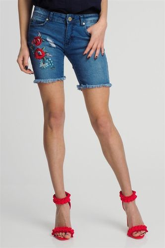 Sublevel Spodenki jeansowe damskie z haftowanymi kwiatami niebieskie Sublevel M