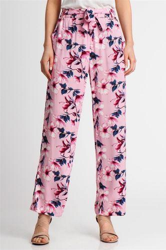 Sublevel Spodnie materiałowe damskie w kwiaty różowe Sublevel S